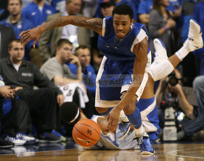 Kentucky Wildcats guard James Young (1)  runs after a loose ball during the first half of the Blue-White scrimmage at Rupp Arena in Lexington, Ky., on Tuesday, October 29, 2013. Photo by Tessa Lighty | Staff