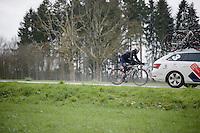Stefan Denifl (AUT/IAM) getting back into the peloton<br /> <br /> 102nd Li&egrave;ge-Bastogne-Li&egrave;ge 2016