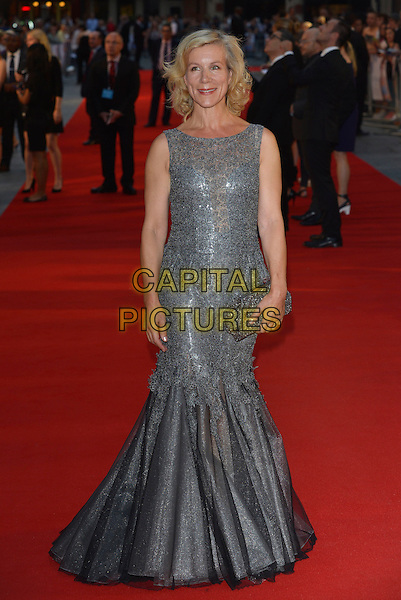 Juliet Stevenson (who plays Sonia)<br /> attends the World Premiere of 'Diana', Odeon Leicester Square, London, England, UK, 5th September 2013.<br /> film arrivals full length dress long maxi fishtail tulle clutch bag grey gray silver lace sleeveless silver clutch bag peplum <br /> CAP/PL<br /> &copy;Phil Loftus/Capital Pictures