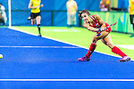Melissa Gonzalez #5 of United States passes during USA vs Japan in a Pool B game at the Rio 2016 Olympics at the Olympic Hockey Centre in Rio de Janeiro, Brazil.