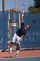 SAN ANTONIO, TX - FEBRUARY 9, 2008: The Laredo Community College Palominos vs. The University of Texas at San Antonio Roadrunners Men's Tennis at the UTSA Tennis Center. (Photo by Jeff Huehn)
