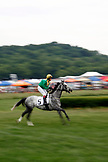 USA, Tennessee, Nashville, Iroquois Steeplechase, a horse and jockey warm up before race number five
