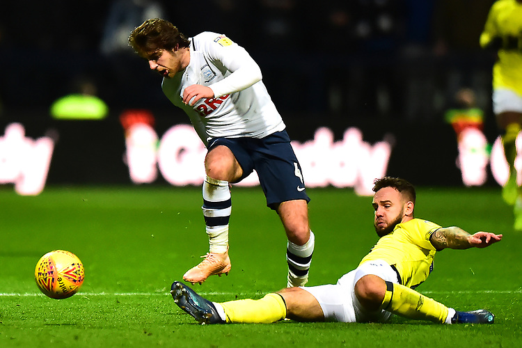 Preston North End's Ben Pearson is tackled by Blackburn Rovers' Adam Armstrong<br /> <br /> Photographer Richard Martin-Roberts/CameraSport<br /> <br /> The EFL Sky Bet Championship - Preston North End v Blackburn Rovers - Saturday 24th November 2018 - Deepdale Stadium - Preston<br /> <br /> World Copyright © 2018 CameraSport. All rights reserved. 43 Linden Ave. Countesthorpe. Leicester. England. LE8 5PG - Tel: +44 (0) 116 277 4147 - admin@camerasport.com - www.camerasport.com