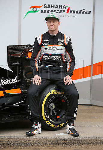 22.02.2016. Barcelona, Spain.  German Formula One driver Nico Huelkenberg of Force India poses during the launch of the new car VJM09 for the upcoming Formula One season at the Circuit de Barcelona - Catalunya in Barcelona, Spain.