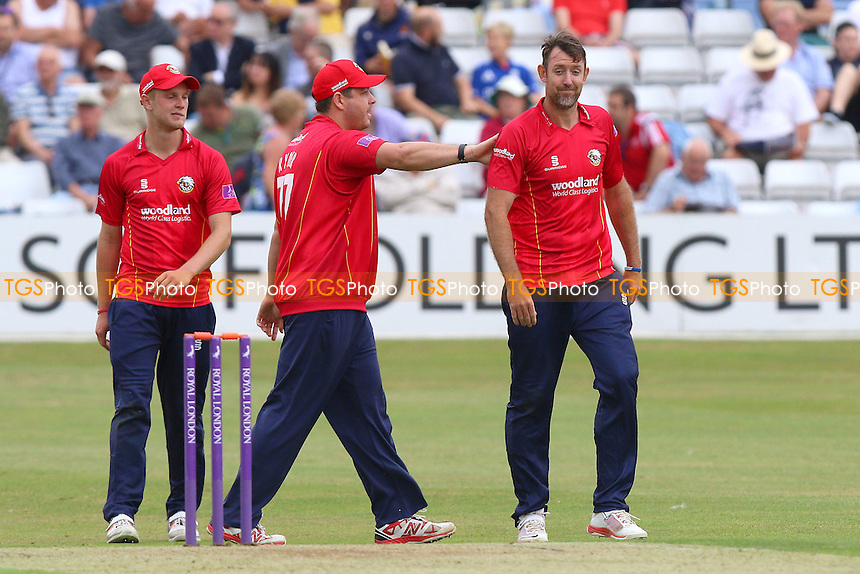 David Masters of Essex (R) is congratulated by his team mates after taking the wicket of Will Bragg during Essex Eagles vs Glamorgan, Royal London One-Day Cup Cricket at the Essex County Ground on 26th July 2016