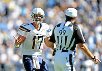 Sep. 20, 2009; San Diego, CA, USA; San Diego Chargers quarterback (17) Phillip Rivers argues with a referee against the Baltimore Ravens at Qualcomm Stadium in San Diego. Baltimore defeated San Diego 31-26. Mandatory Credit: Mark J. Rebilas-