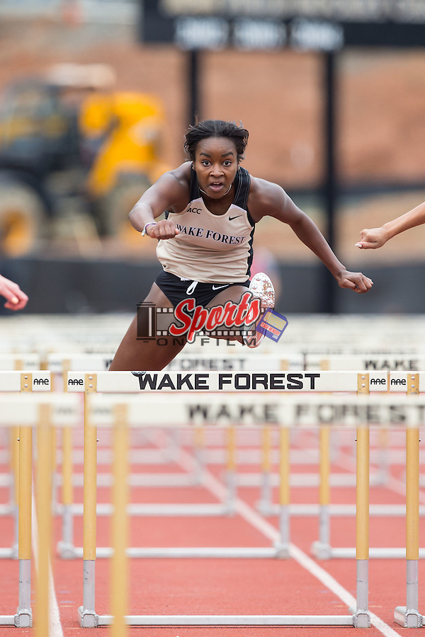 Hunter Roberts of the Wake Forest Demon Deacons competes in the women's 100 meter hurdles at the Wake Forest Open on March 20, 2015 in Winston-Salem, North Carolina.  (Brian Westerholt/Sports On Film)