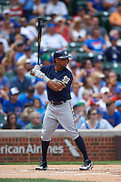 Milwaukee Brewers outfielder Khris Davis (18) at bat during a game against the Chicago Cubs on August 13, 2015 at Wrigley Field in Chicago, Illinois.  Chicago defeated Milwaukee 9-2.  (Mike Janes/Four Seam Images)