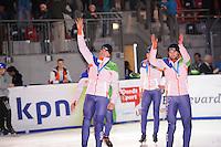 SCHAATSEN: DORDRECHT: Sportboulevard, Korean Air ISU World Cup Finale, 12-02-2012, Relay Men, Team NED, Freek van der Wart, Niels Kerstholt, ©foto: Martin de Jong