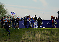 Francesco Molinari (Team Europe) and Phil Mickelson (Team USA) on the 16th during the singles matches at the Ryder Cup, Le Golf National, Ile-de-France, France. 30/09/2018.<br /> Picture Fran Caffrey / Golffile.ie<br /> <br /> All photo usage must carry mandatory copyright credit (© Golffile | Fran Caffrey)
