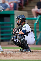Kane County Cougars catcher Tim Susnara (6) awaits the pitch during a game against the West Michigan Whitecaps on July 19, 2018 at Northwestern Medicine Field in Geneva, Illinois.  Kane County defeated West Michigan 8-5.  (Mike Janes/Four Seam Images)