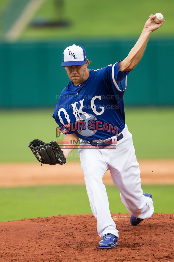 Oklahoma City Dodgers pitcher Ian Thomas (43) delivers a pitch to the plate during the Pacific Coast League baseball game against the Nashville Sounds on June 12, 2015 at Chickasaw Bricktown Ballpark in Oklahoma City, Oklahoma. The Dodgers defeated the Sounds 11-7. (Andrew Woolley/Four Seam Images)
