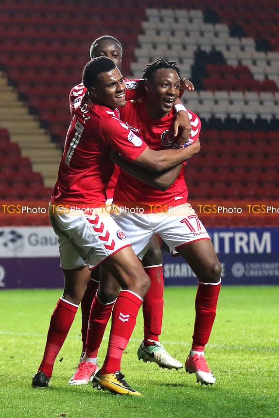 Joe Aribo (No 17) celebrates scoring Charlton's third goal with Jamie Mascoll during Charlton Athletic vs Fulham Under-21, Checkatrade Trophy Football at The Valley on 1st November 2017