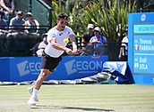 June 18th 2017, Nottingham, England; ATP Aegon Nottingham Open Tennis Tournament day 7 finals day; Thomas Fabbiano of Italy returns a Dudi Sela of Israel serve in the men's final