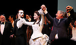 Hal Prince, Hugh Panaro, Sierra Boggess & Cameron Mackintosh during the 'Phantom of the Opera' - 25 Years on Broadway Gala Performance Curtain Call Celebration at the Majestic Theatre in New York City on 1/26/2013