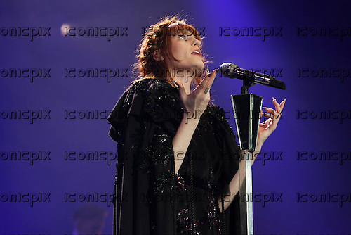 Florence and the Machine - vocalist Florence Welch - performing live at the O2 Arena London UK - 06 Dec 2012.  Photo credit: John Rahim/Music Pics/IconicPix