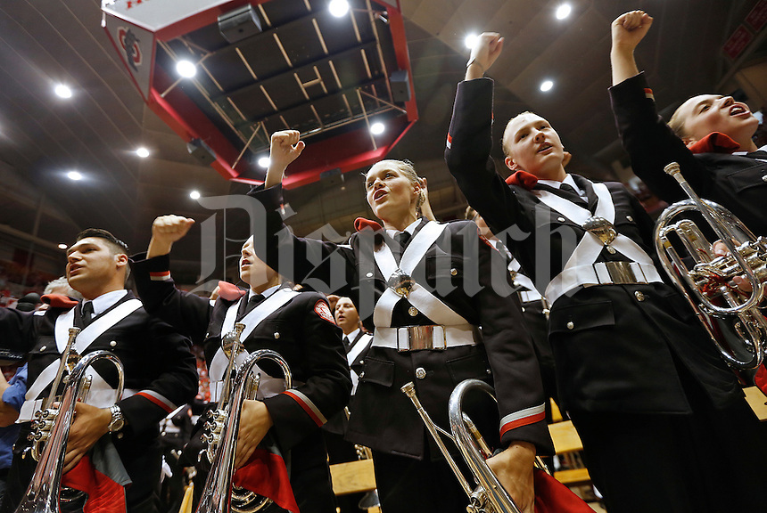 Ohio State Marching Band members get pumped up during the Skull Session in St. John Arena before the college football game between the Ohio State Buckeyes and the Northern Illinois Huskies at Ohio Stadium in Columbus, Saturday afternoon, September 19, 2015. (The Columbus Dispatch / Eamon Queeney)