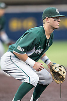 Michigan State Spartans third baseman Marty Bechina (2) on defense against the Michigan Wolverines on May 19, 2017 at Ray Fisher Stadium in Ann Arbor, Michigan. Michigan defeated Michigan State 11-6. (Andrew Woolley/Four Seam Images)