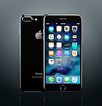 Apple iPhone 7 Plus black front and back with desktop icons on its display isolated on dark gray background