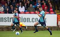 Danny Rowe of Wycombe Wanderers heads forward during the pre season friendly match between Aldershot Town and Wycombe Wanderers at the EBB Stadium, Aldershot, England on 22 July 2017. Photo by Andy Rowland.