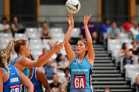 Steel Te Paea Selby-Rickit in action during the Netball Pre Season Tournament - Mystics v Steel at Ngā Purapura, Otaki, New Zealand on Saturday 9 February  2019. <br /> Photo by Masanori Udagawa. <br /> www.photowellington.photoshelter.com