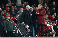 The Arsenal team management complain about the time added on to fourth official Roger East during Arsenal vs Wolverhampton Wanderers, Premier League Football at the Emirates Stadium on 11th November 2018