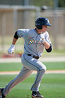 GCL Marlins designated hitter Jared Barnes (20) runs to first base during the first game of a doubleheader against the GCL Nationals on July 23, 2017 at Roger Dean Stadium Complex in Jupiter, Florida.  GCL Nationals defeated the GCL Marlins 4-0.  (Mike Janes/Four Seam Images)