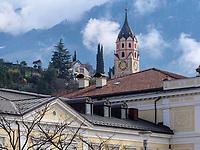 Kurhaus und Turm St. Nikolaus, Meran-Merano, Bozen &ndash; S&uuml;dtirol, Italien<br /> Spa building and steeple St. Nicholas, Meran-Merano, province Bozen-South Tyrol, Italy