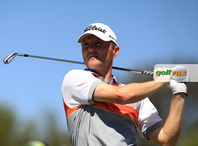 Michael Hoey (NIR) on the 1st tee during Round 4 of the Open de Espana  in Club de Golf el Prat, Barcelona on Sunday 17th May 2015.<br /> Picture:  Thos Caffrey / www.golffile.ie