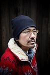 Tokyo, February 15 2011 - Portrait of Japanese writer Hideo Furukawa on the street in the Nishi-Ogikubo area, were he used to have some walks.