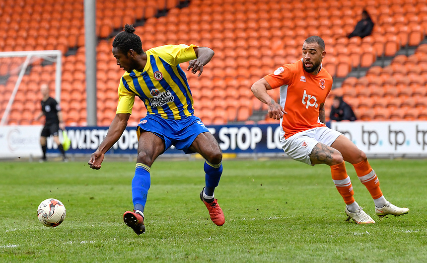 Accrington Stanley's Omar Beckles under pressure from Blackpool's Kyle Vassell<br /> <br /> Photographer Terry Donnelly/CameraSport<br /> <br /> The EFL Sky Bet League Two - Blackpool v Accrington Stanley - Friday 14th April 2017 - Bloomfield Road - Blackpool<br /> <br /> World Copyright &copy; 2017 CameraSport. All rights reserved. 43 Linden Ave. Countesthorpe. Leicester. England. LE8 5PG - Tel: +44 (0) 116 277 4147 - admin@camerasport.com - www.camerasport.com