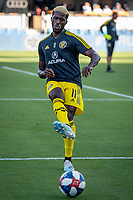 SAN JOSÉ CA - Saturday August 03, 2019: Gyasi Zardes #11 during a Major League Soccer (MLS) match between the San Jose Earthquakes and the Columbus Crew at Avaya Stadium in San José, California.