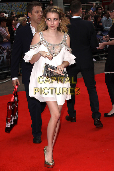 EMMA ROBERTS .World Film Premiere of '4,3,2,1' at the Empire, Leicester Square, London, England, UK, May 25th 2010 .4321 4-3-2-1 arrivals full length ruffle sleeve dress side walking shiny peep toe shoes  platform heels metallic white silver gold beaded cut out shoulders embellished .CAP/AH.©Adam Houghton/Capital Pictures.