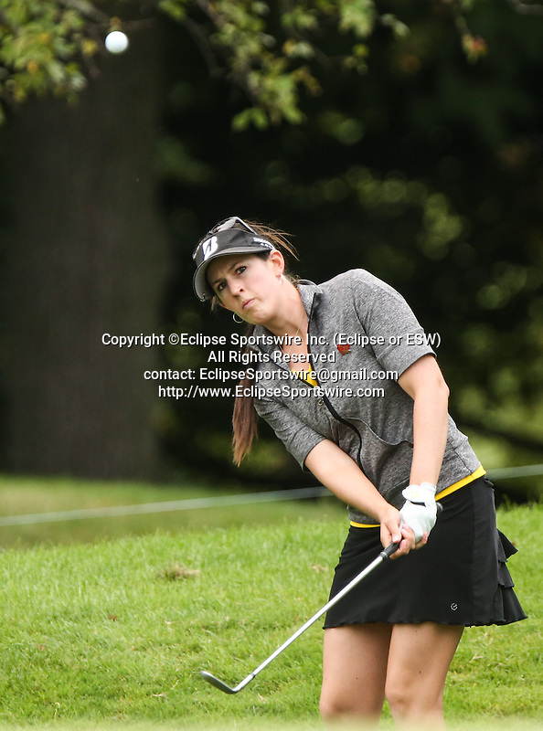 Emma Jandel chips her ball on the 10th green at the LPGA Championship 2014 Sponsored By Wegmans at Monroe Golf Club in Pittsford, New York on August 16, 2014