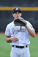 Pitcher Spencer Mahoney (17) of the Pulaski Yankees warms up before a game against the Bristol Pirates on Tuesday, July 5, 2016, at Calfee Park in Pulaski, Virginia. Pulaski won, 6-3. (Tom Priddy/Four Seam Images)