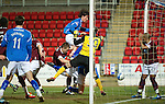 Hearts v St Johnstone...14.02.12.. Scottish Cup 5th Round Replay.Fran Sandaza heads wide of the post.Picture by Graeme Hart..Copyright Perthshire Picture Agency.Tel: 01738 623350  Mobile: 07990 594431