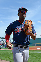 Boston Red Sox shortstop Xander Bogaerts (2) before a Spring Training game against the Pittsburgh Pirates on March 12, 2015 at McKechnie Field in Bradenton, Florida.  Boston defeated Pittsburgh 5-1.  (Mike Janes/Four Seam Images)