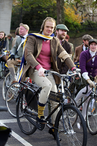 Fredrik Ferrier from Made in Chelsea rides his bicycle on The Tweed Run