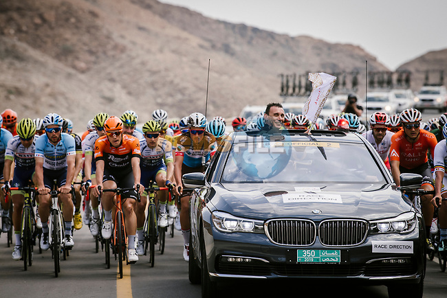 The start of Stage 4 of 10th Tour of Oman 2019, running 131km from Yiti (Al Sifah) to Oman Convention and Exhibition Centre, Oman. 19th February 2019.<br /> Picture: ASO/P. Ballet | Cyclefile<br /> All photos usage must carry mandatory copyright credit (© Cyclefile | ASO/P. Ballet)