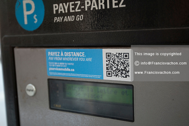 A municipal pay and go parking machine is pictured in Montreal Friday October 26, 2012.