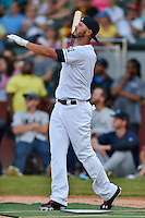 Huntsville Stars first baseman Nick Ramirez #9 swings at a pitch during the Southern League Home Run Derby at Engel Stadium on June 16, 2014 in Chattanooga, Tennessee.  (Tony Farlow/Four Seam Images)