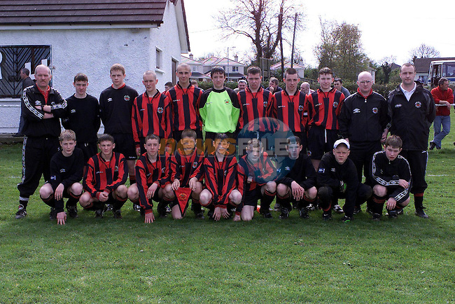 Cherry Orchard Team  Numbered in Coloured Strip..4 Jason Walsh, 9 Barry Thornton, 1 Brendan Clarke, 2 Declan Greaves, 5 Gerard O'Connor, 6 Ian Maher..Front, 7 Hussain Yazdani, 8 Keith Redmond, 3 Gary Sullivan, 10 Mark Yeates, 11 William Flood..Subs, Gareth Paisley, Lee Cronin, Daniel Hennesy, Paul Malone, Brian Shortall, Brian O'Donnell..Pic Fran Caffrey NEWSFILE..Camera:   DCS620C.Serial #: K620C-01974.Width:    1728.Height:   1152.Date:  30/4/00.Time:   13:23:15.DCS6XX Image.FW Ver:   3.0.9.TIFF Image.Look:   Product.Antialiasing Filter:  Removed.Counter:    [4054].Shutter:  1/250.Aperture:  f10.ISO Speed:  400.Max Aperture:  f2.8.Min Aperture:  f22.Focal Length:  28.Exposure Mode:  Program AE (P).Meter Mode:  Color Matrix.Drive Mode:  Continuous High (CH).Focus Mode:  Single (AF-S).Focus Point:  Center.Flash Mode:  Normal Sync.Compensation:  +0.0.Flash Compensation:  +0.0.Self Timer Time:  5s.White balance: Preset (Flash).Time: 13:23:15.895.
