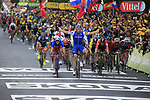 Marcel Kittel (GER) Quick-Step Floors wins the bunch sprint for the finish line of Stage 2 of the 104th edition of the Tour de France 2017, running 203.5km from Dusseldorf, Germany to Liege, Belgium. 2nd July 2017.<br /> Picture: Eoin Clarke | Cyclefile<br /> <br /> <br /> All photos usage must carry mandatory copyright credit (&copy; Cyclefile | Eoin Clarke)