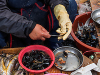 Fischhändler auf dem Markt in Gurye, Provinz Jeollanam-do, Südkorea, Asien<br /> fishmonger on market iin Gurye, province Jeollanam-do, South Korea, Asia
