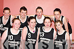 BASKETBALL: The Kileentierna Youth Club Basketball Team who competed in the Flesk Region Basketball Finals in Castleisland Community Centre last Friday night. Front l-r: Orla OSullivan, Marie Keane, Louise OConnor and Maura Conroy. Back l-r: Seamus Brosnan, Con OMahony, Declan Brosnan and Denis Linehan..