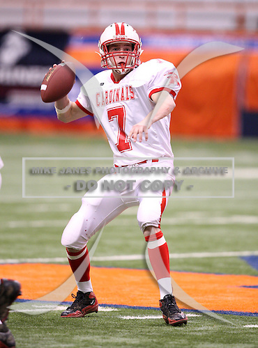 November 28, 2009:  Randolph Cardinals vs. Moriah Vikings in the NYSPHSAA Class-D State Championship game at the Carrier Dome in Syracuse, NY.  Randolph defeated Moriah by the score of 40-0.  Photo Copyright Mike Janes Photography 2009 - PRINTS ARE AVAILABLE AT MAXPREPS.COM
