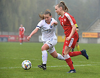 20190409  - Tubize , BELGIUM : Swiss Fiona Sturgess (R) and Finland's Emmi Siren (L) pictured during the soccer match between the women under 19 teams of Switzerland and Finland , on the third matchday in group 2 of the UEFA Women Under19 Elite rounds in Tubize , Belgium. Tuesday 9 th April 2019 . PHOTO DIRK VUYLSTEKE / Sportpix.be
