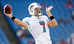 29 November 2009: Miami Dolphins' quarterback Chad Henne warms up prior to a game against the Buffalo Bills at Ralph Wilson Stadium in Orchard Park, New York. The Bills defeated the Dolphins 31-14. Mandatory Credit: Ed Wolfstein Photo