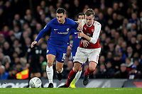 Eden Hazard of Chelsea tries to shake off a challenge from Arsenal's Rob Holding during Chelsea vs Arsenal, Caraboa Cup Football at Stamford Bridge on 10th January 2018