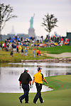 28 August 2009: Paul Goydos and Ben Crane walk down the fairway during the second round of The Barclays PGA Playoffs at Liberty National Golf Course in Jersey City, New Jersey.